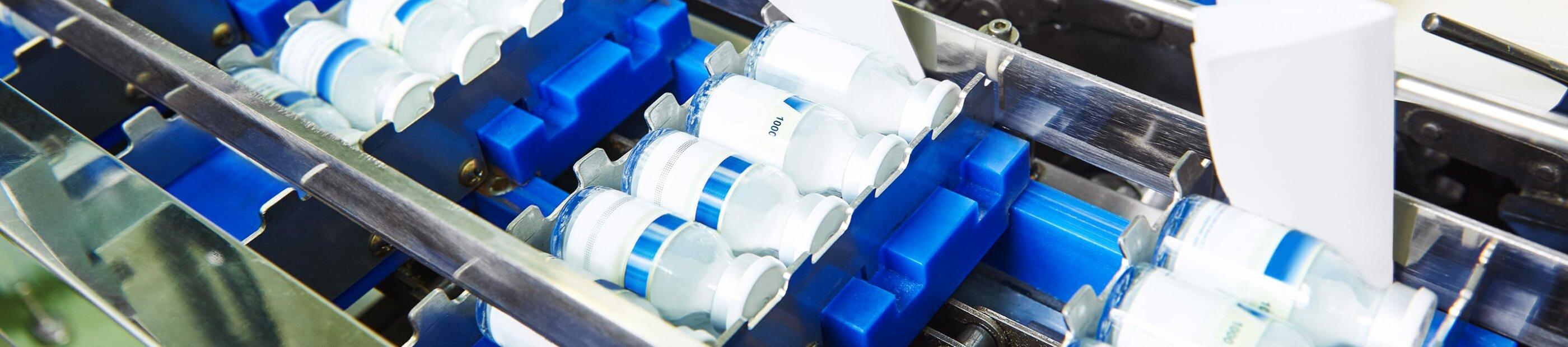 vials at manufacturing facility